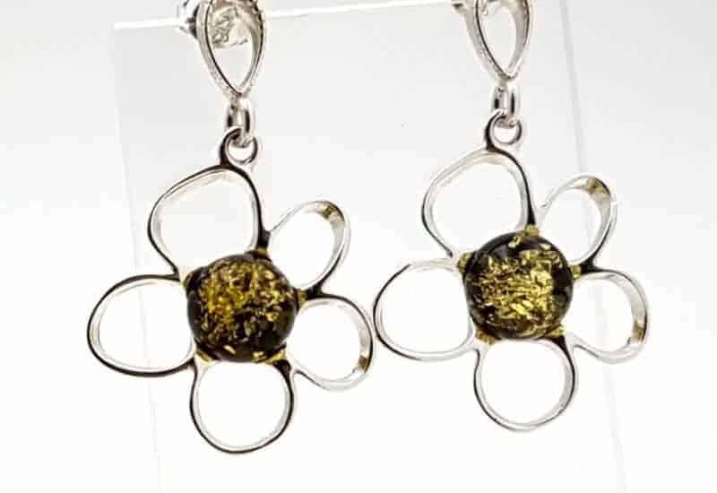 Pendientes fabricados en plata y Ámbar – flor