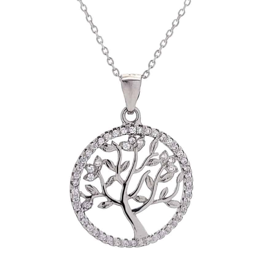 Colgante árbol de la vida con circonitas blancas (3)