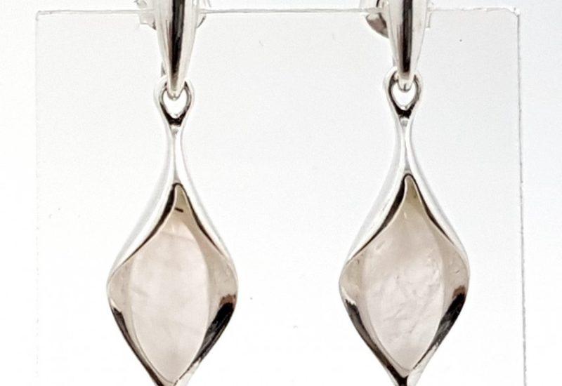 Pendientes de Cuarzo Rosa fabricado en plata de ley 925 mls
