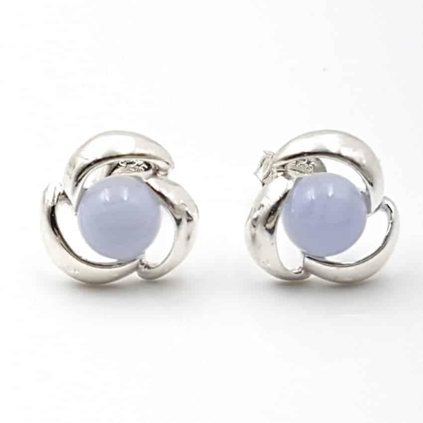 Pendientes calcedonia azul en plata 24935
