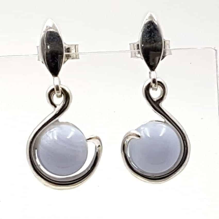 Pendientes calcedonia azul en plata
