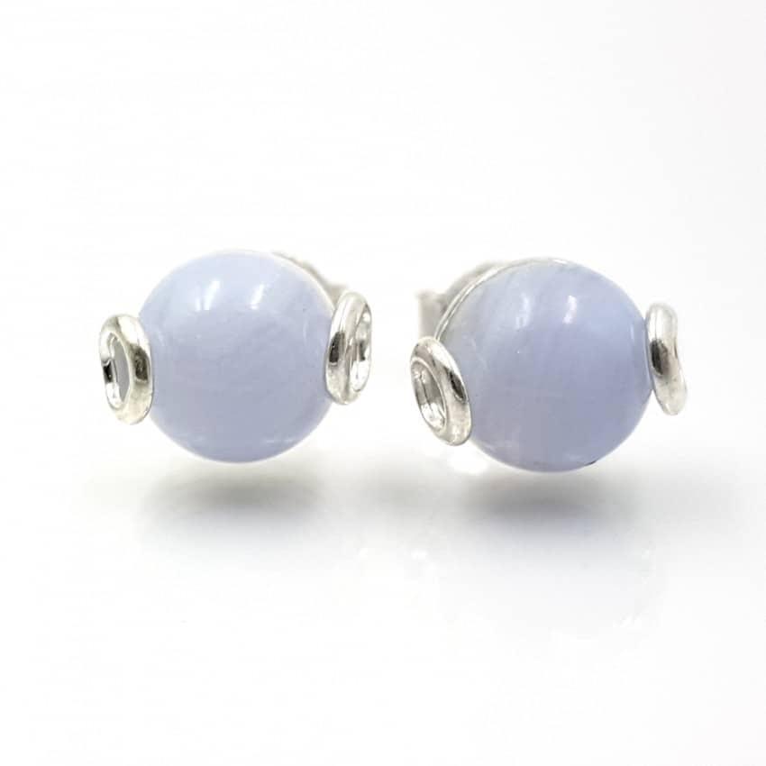 Pendientes de plata y calcedonia azul