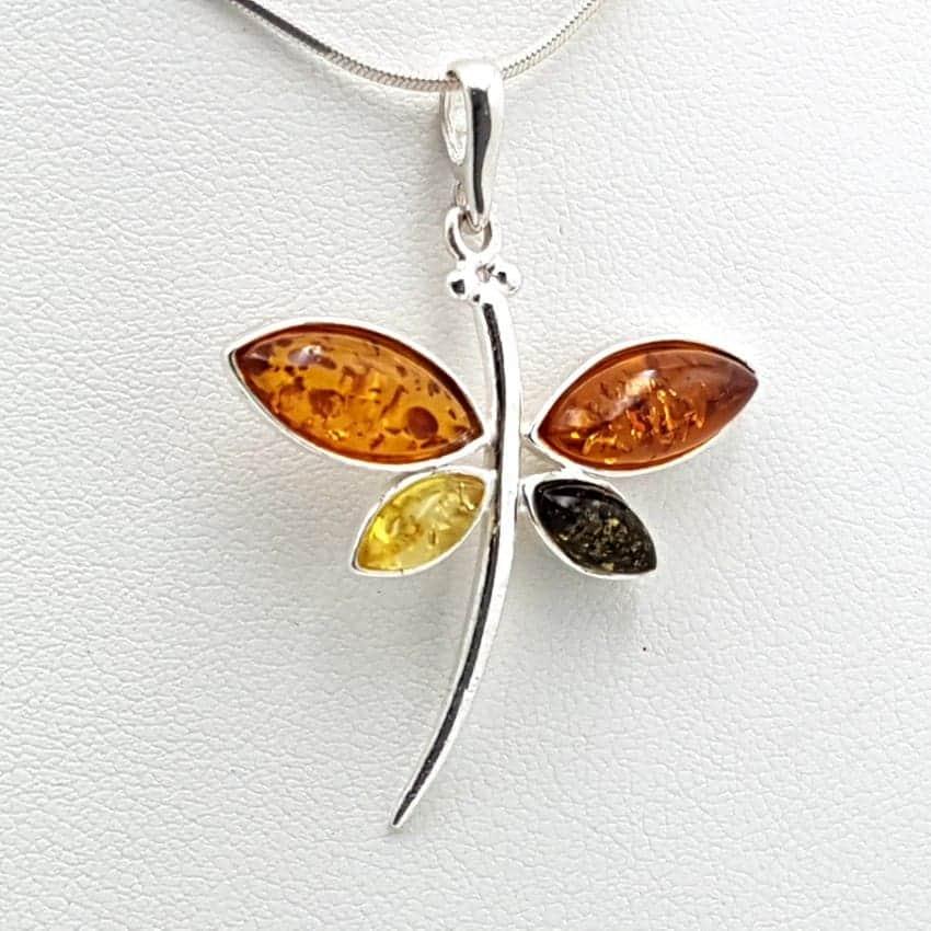 Colgante libélula en plata y ámbar 26351
