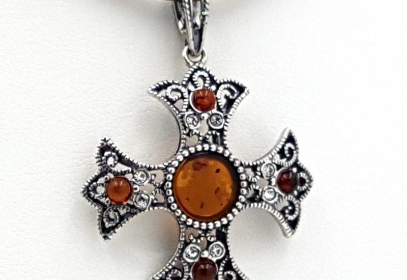 Colgante de Ámbar fabricado en plata de ley- Cruz Copta