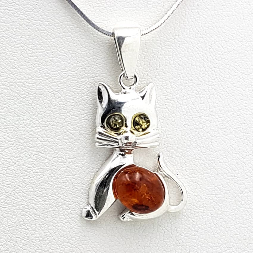 Colgante gato en plata y ámbar 24907