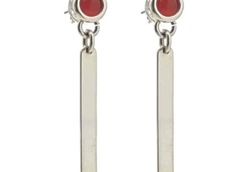 Pendientes largos de dos cuerpos de cornalina en plata