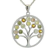 Árbol de la vida con circonitas de colores en plata 925, diseño en colgante