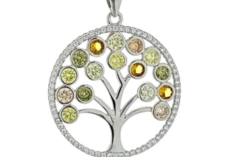 Colgante en plata de ley con circonitas – Árbol de la vida