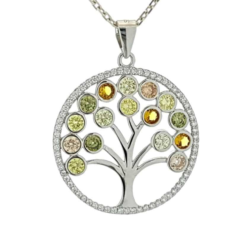 Árbol de la vida con circonitas de colores en plata 925 (9)