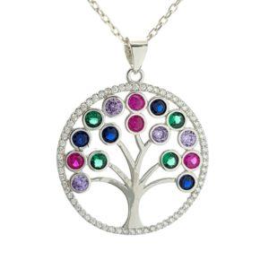 Árbol de la vida de circonitas redondas de colores
