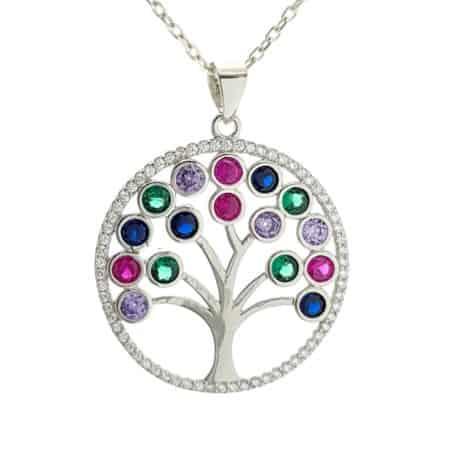 Árbol de la vida de circonitas redondas de colores (5)