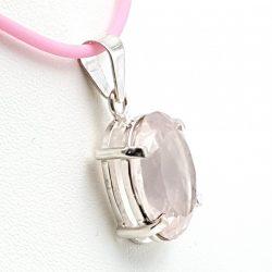 Colgante con cuarzo rosa en plata