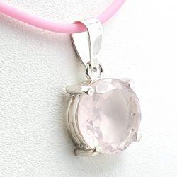 Colgante con cuarzo rosa redondo en plata