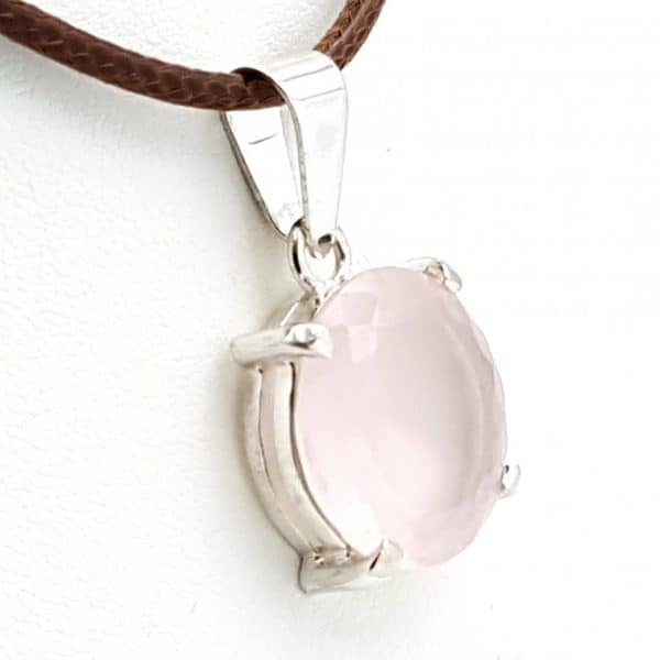 Colgante cuarzo rosa en plata