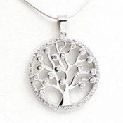 Colgante del árbol de la vida en plata con circonitas