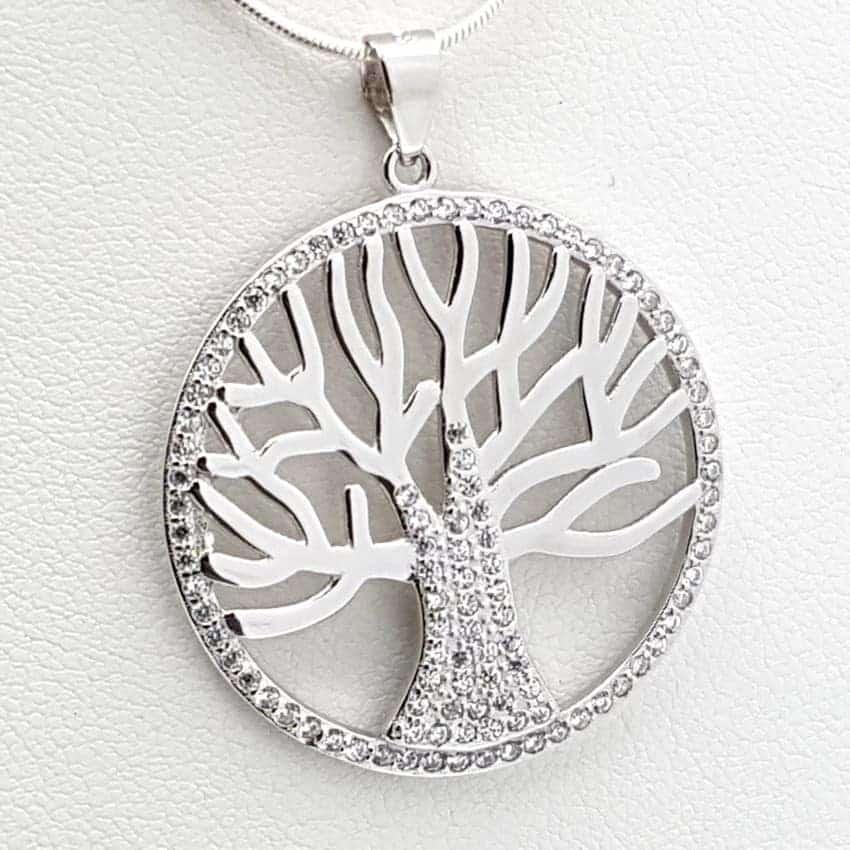 Colgante del árbol de la vida en plata y circonitas