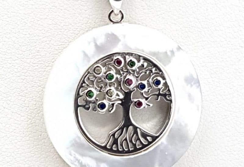 Colgante Árbol de la Vida con Nácar y circonitas fabricado en plata