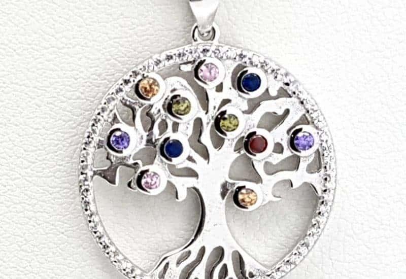 Colgante fabricado en plata con circonitas – Árbol de la vida