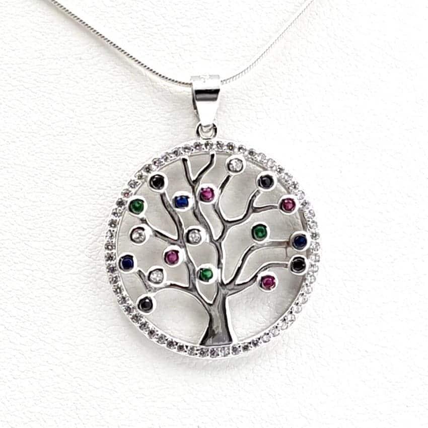 Colgante circonitas fabricado en plata con el árbol de la vida