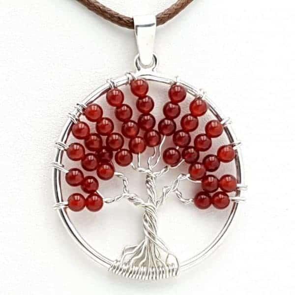 Colgante árbol de la vida y ágata cornalina, en plata