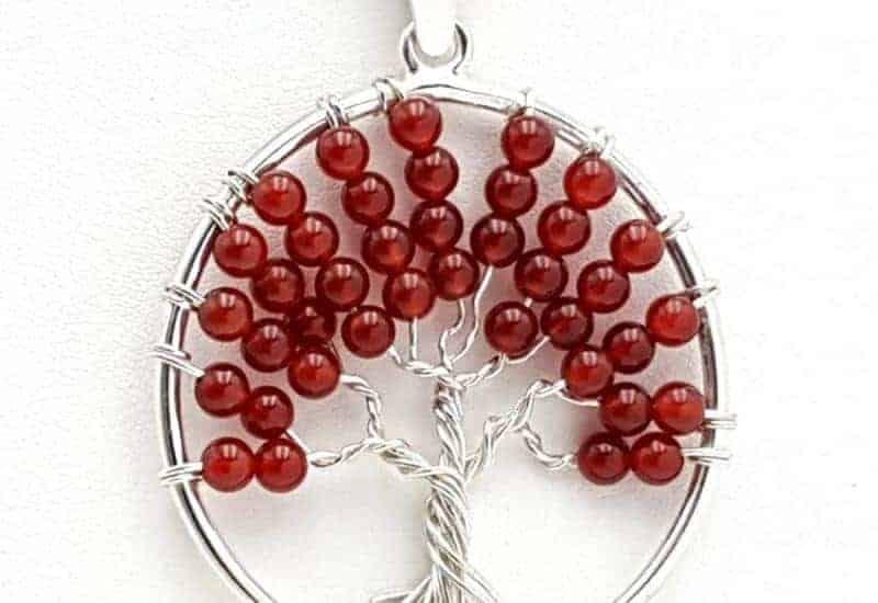 Colgante Árbol de la vida en plata de ley con bolas de ágata cornalina