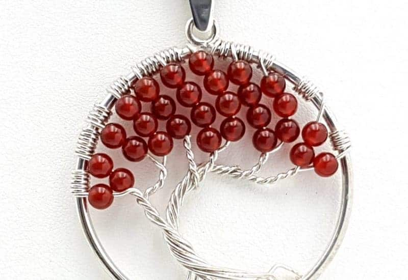 Colgante Árbol de la vida en plata de ley con bolas de cornalina