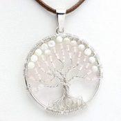 Colgante árbol de la vida con cuarzo rosa y nácar, en plata