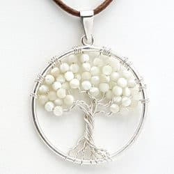 Colgante árbol de la vida con nácar, en plata