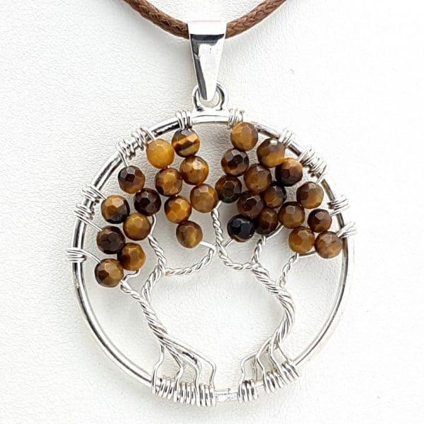 Colgante árbol de la vida con ojo de tigre, en plata