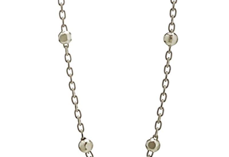 Cadena en Plata Bolas diamantadas (facetadas) de 2 mm- 40 cm