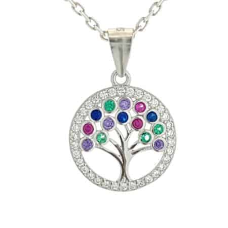 Mini colgante árbol de la vida con circonitas de plata 925 (2)