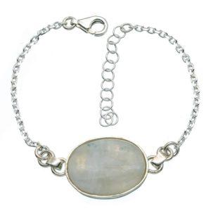 Pulsera de plata 925 con piedra luna central
