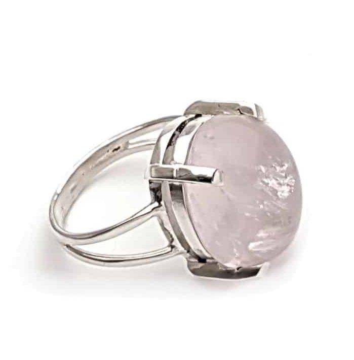 anillo talla 18 con piedra de cuarzo rosa en plata 925 (1)