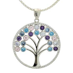 Árbol de la vida en plata con circonitas de colores