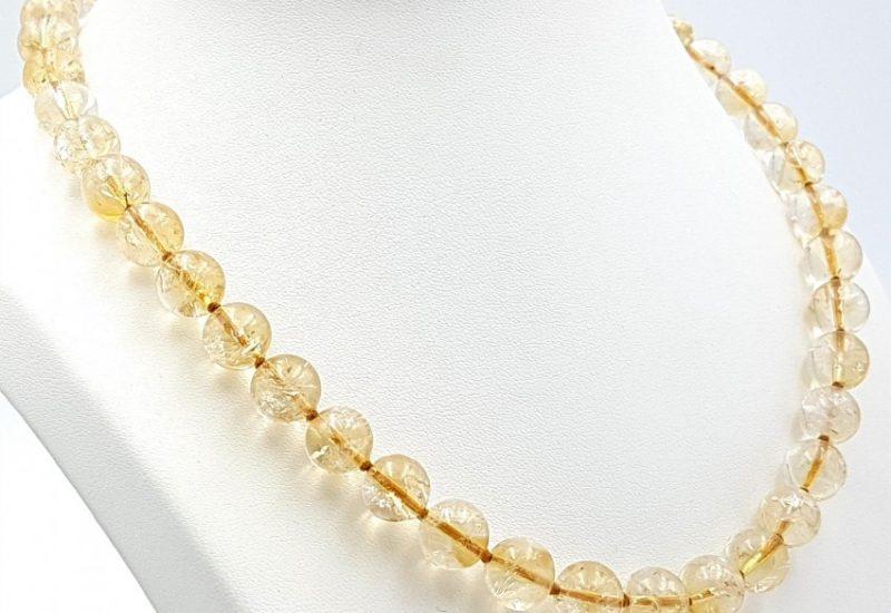 Collar de Cuarzo Citrino y cierre de plata – bolas 10 mm