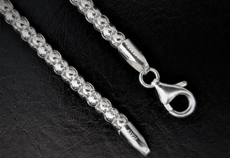 Cadena Coreana de 50 cm de largo fabricada en plata