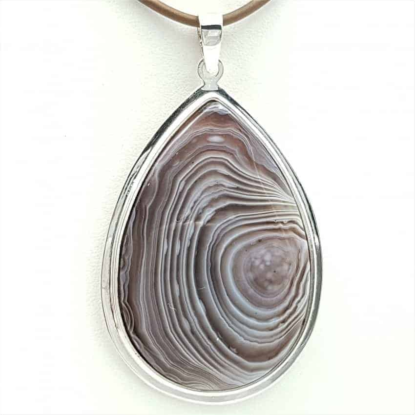 Colgante en plata y ágata, forma de gota
