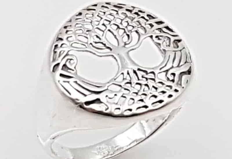 Anillo del Árbol de la vida fabricado en plata de ley