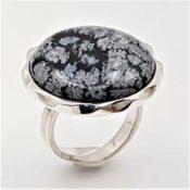 Anillo de obsidiana nevada en plata