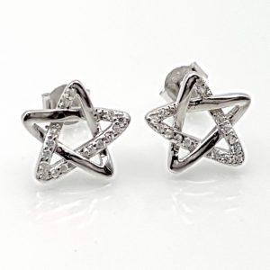 Pendientes estrella de David con circonitas en plata