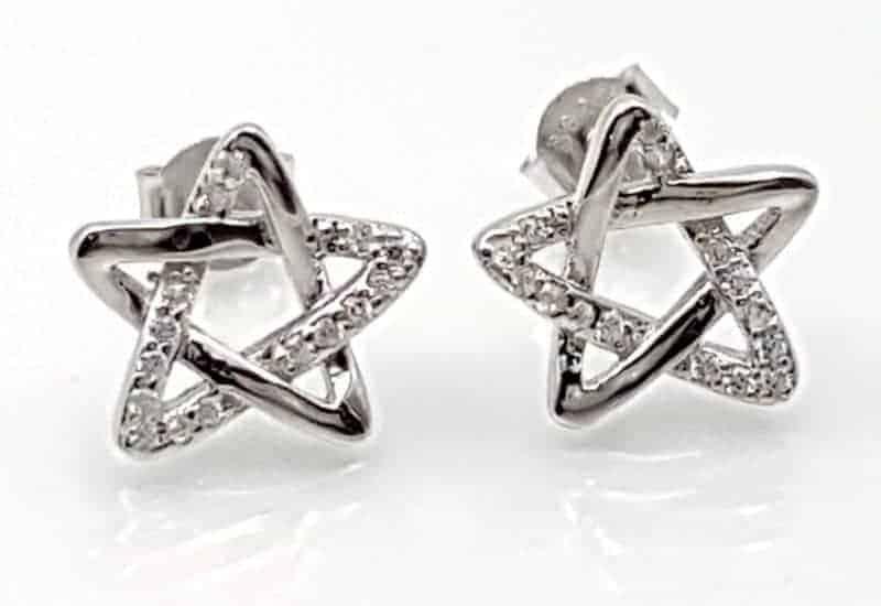 Pendientes Estrella de David con Circonitas fabricados en plata de ley