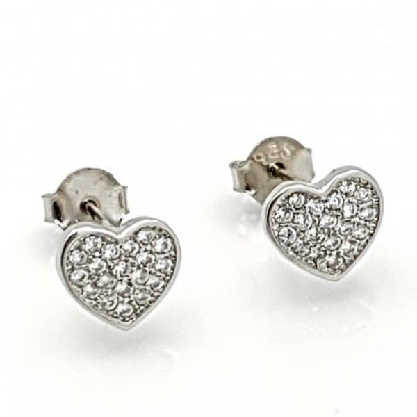 Pendientes corazón con circonitas en plata