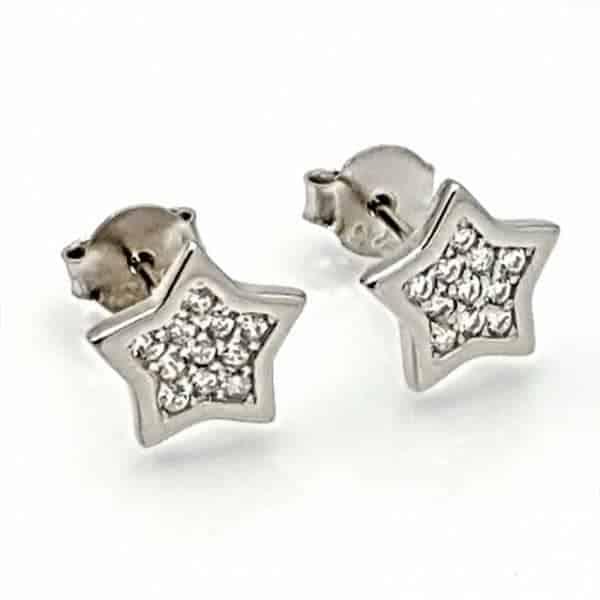 Pendientes estrella con circonitas en plata