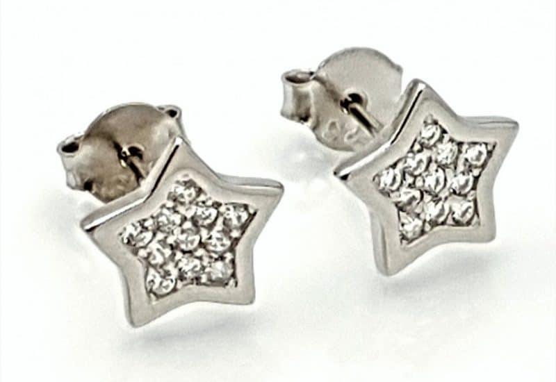 Pendientes Estrella con Circonitas fabricados en plata de ley