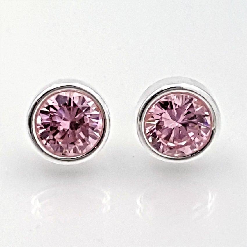 Pendientes circonitas rosas en plata