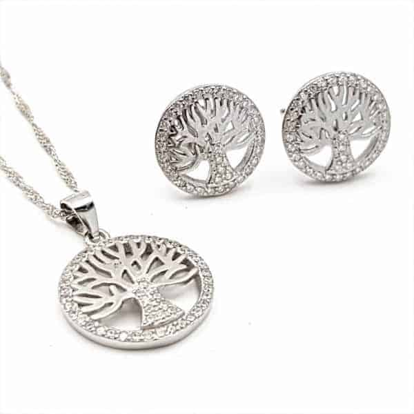 Conjunto de pendientes y gargantilla árbol de la vida en plata y circonitas