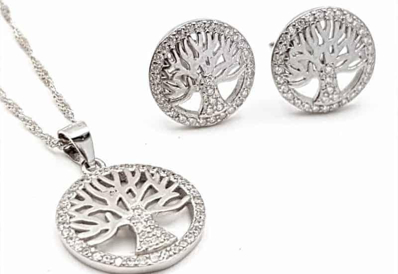 Conjunto de pendientes y gargantilla del Árbol de la vida en plata de ley con circonitas