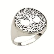 Anillo sello de árbol de la vida en plata