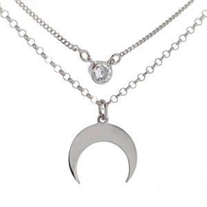 Gargantilla doble luna y circonita en plata (3)