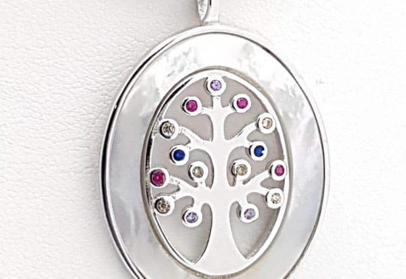 Colgante del Árbol de la vida en plata de ley con Nácar y circonitas